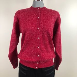 Vintage Red Mohair Cardigan Pearl Button 1950s
